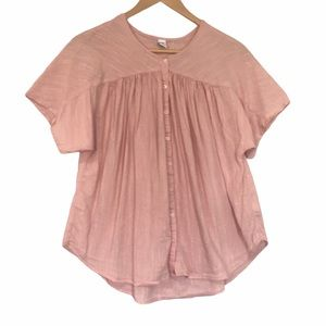 Old navy pastel pink short sleeve button shirt L
